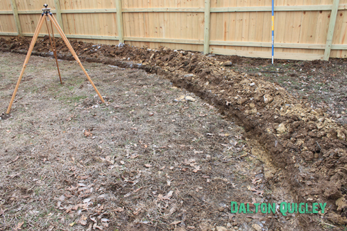 French Drain in a Nashville Tn backyard Franklin, Brentwood, Spring Hill, Nolensville, Murfreesboro Drains water problems crawl space water