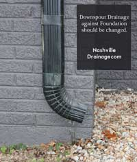 Nashville Downspout Drainage this image is of a downspout that drains against the home.